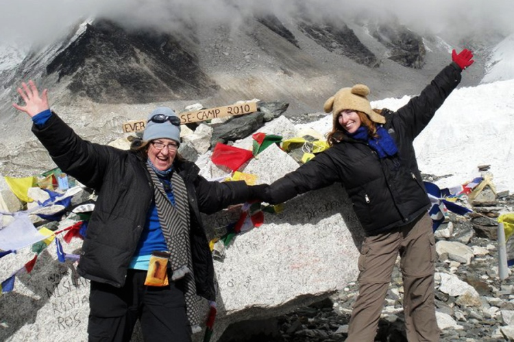mother and daughter at everest base camp