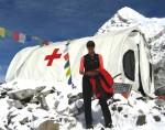 luanne freer infront of er medical camp everest