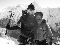 A mountaineer with a Sherpa guide