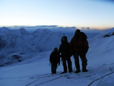 approaching mera peak summit dawn