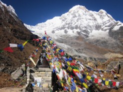 buddhist memorial built at annapurna base camp