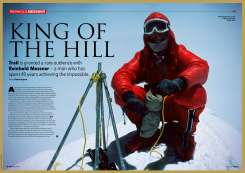 Reinhold Messner in a Magazine Cover