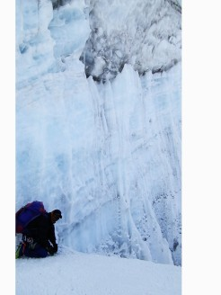 sherpa porter under ice rock
