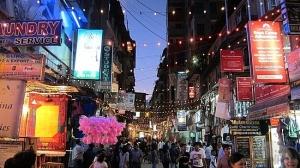 Thamel bazaar during the evening