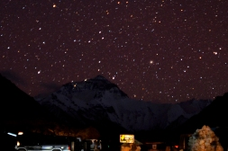 Everst base camp during starry night