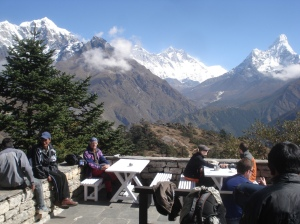 Trekkers relaxing in a tea-house at Everest