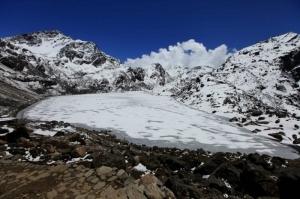 Frozen Gosainkunda lake during winter