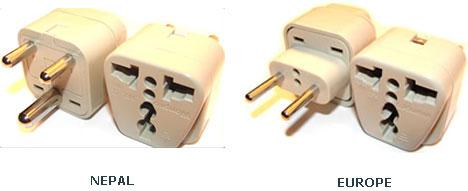 Eléctrico Tipo de conector usado en Nepal, en comparación con Europa