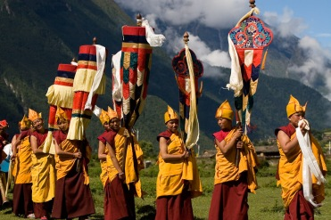 Buddhist monks at a festival in Tsum valley