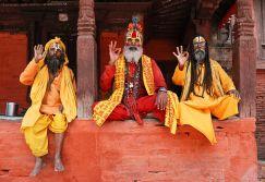 Sadhus seen at Pashupati Temple premise