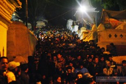 Throngs of devotees crowding pashupatinath temple premise