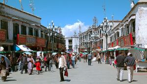 Barkhor Street Market in Lhasa is the most busiest place