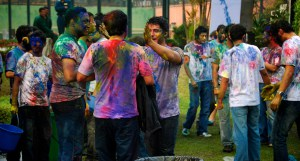 People gathered to play Holi
