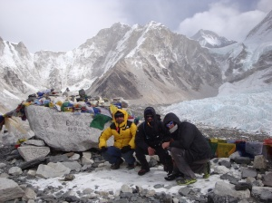 Trekkers posing at Everest Base Camp