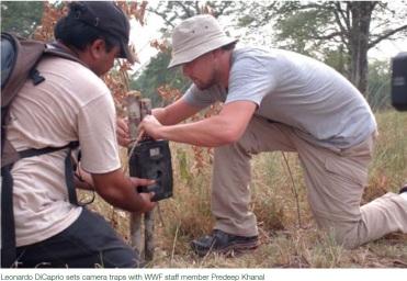 Leonardo setting up a surveillance camera inside Bardia National Park