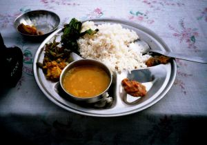 A plate of Nepalese dal bhaat