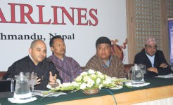 Wangchuk Dorji speaks at a press conference in Kathmandu