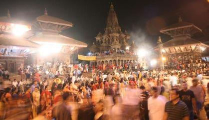 Dvotees at Krishna Temple in Mangal Bazaar
