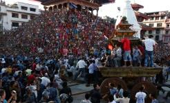 Chariot procession during Kumari Jatra in Kathmandu
