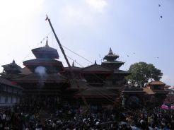 Raising Yosin or Linga during Indra Jatra