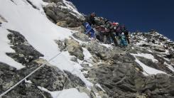 Pem Sherpa installing rope
