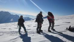 Pem Sherpa with climbers at Mera Peak