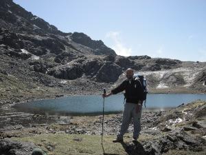 Sudip posing in front of Gosainkunda lake