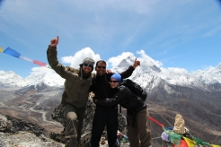 Sudip with tourists at Everest Base Camp