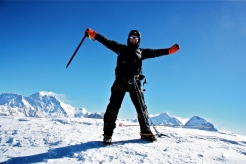 Ashley posing at Mera Peak Summit