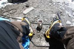 Relishing hot cup of coffee at Mera Peak