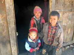 Group of children posing for a snap at Langtang region
