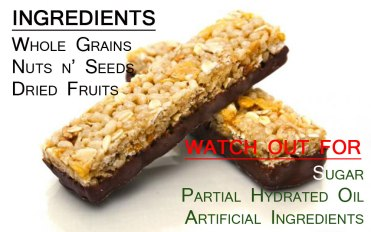 Granola bar energy contents