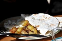 Hash brown potato with local bread