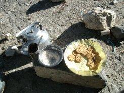 Cookies and a tea at roadside stalls in Kathmandu