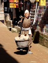 A porter carrying Newari pots at Bhaktapur