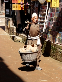 A porter carrying Newari pots at Bhaktapur