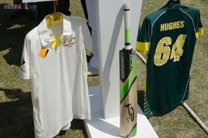 Two playing shirts of deceased Australian cricketer Hughes