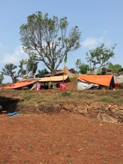 Temporary shelters at Khari