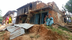 A home destroyed by the earthquake at Bungkot