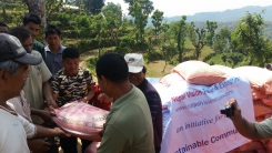Locals receiving relief materials