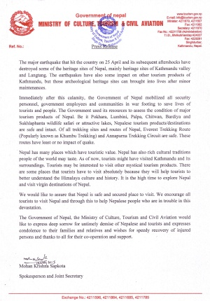 Ministry of Tourism's response on Post-earthquake tourism in Nepal