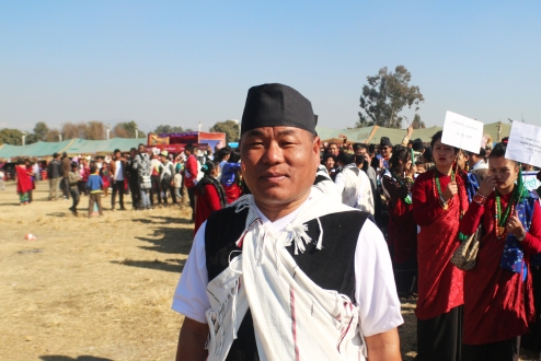 A traditionally clad Gurung man in Kathmandu