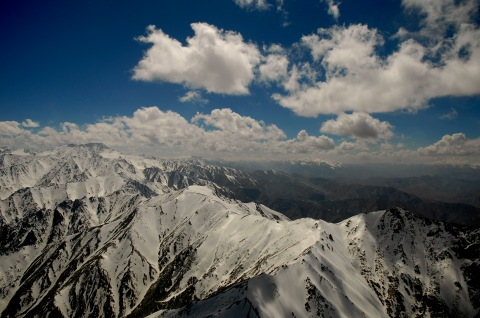 An aerial view of mountains in Afghanistan