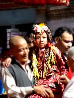 A young virgin girl from Newar community is chosen to be Kumari or Living Goddess in Kathmandu
