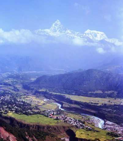 Views of the Annapurna mountains and Fishtail from with sagorkot