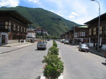 A view of roadway in Thimpu, Bhutan