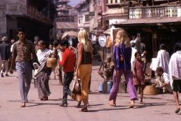 Hippie women walking at Hanumandhoka, Kathmandu