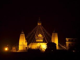 Swayambhunath seen during the night